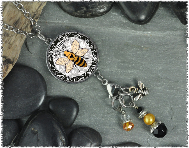 Bee Reversible Circular Charm and Bead Pendant