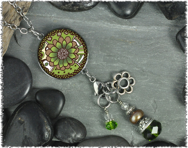 Green Brown Flower Reversible Circular Charm and Bead Pendant