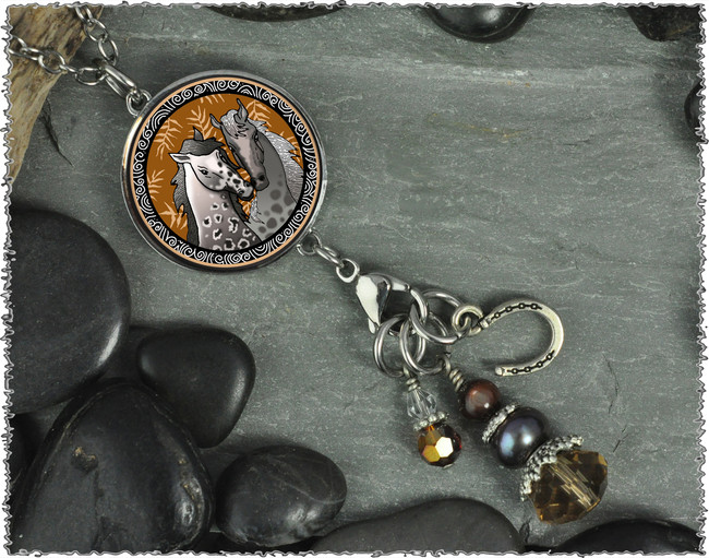Horse Reversible Circular Charm and Bead Pendant