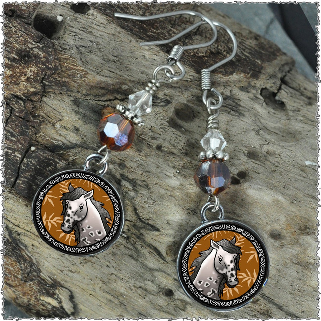 Horse Crystal Circular Earrings