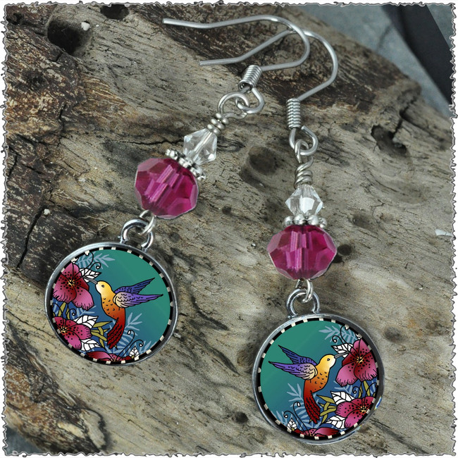 Hummingbird Crystal Circular Earrings