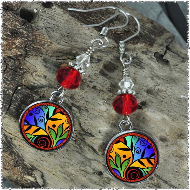 Leaf Flower Color Crystal Circular Earrings