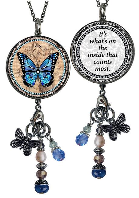 Monarch Blue Reversible Circular Charm and Bead Pendant