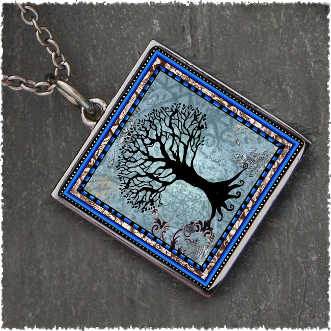Tree of Life Dark Blue Reversible Square Pendant