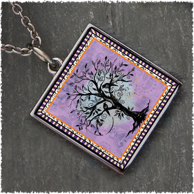 Tree of Life Purple Reversible Square Pendant