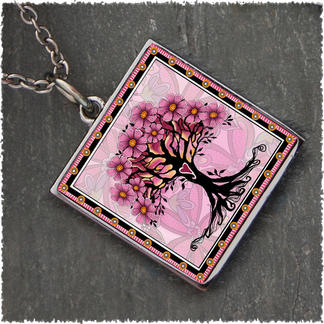 Tree of Life Pink Reversible Square Pendant