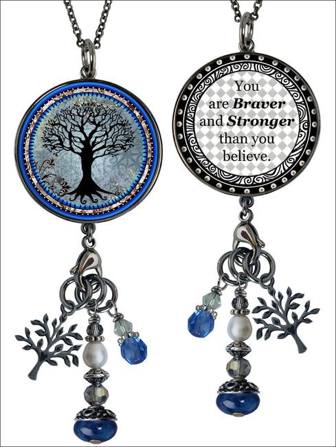 Tree of Life Dark Blue Reversible Circular Charm & Bead Pendant