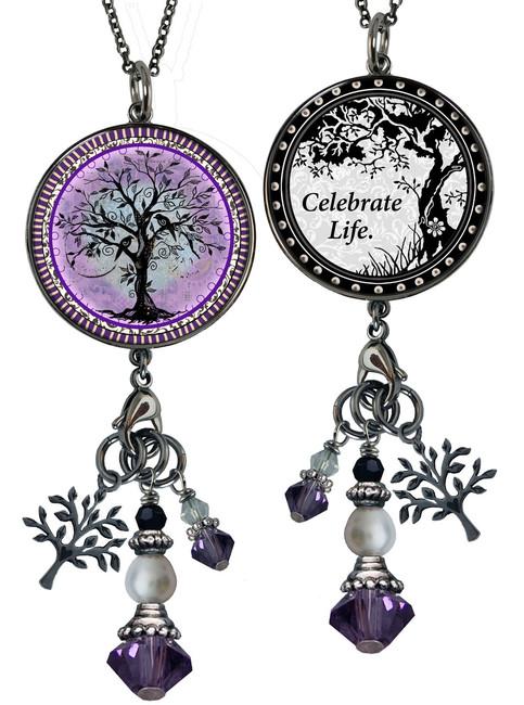 Tree of Life Purple Reversible Circular Charm & Bead Pendant