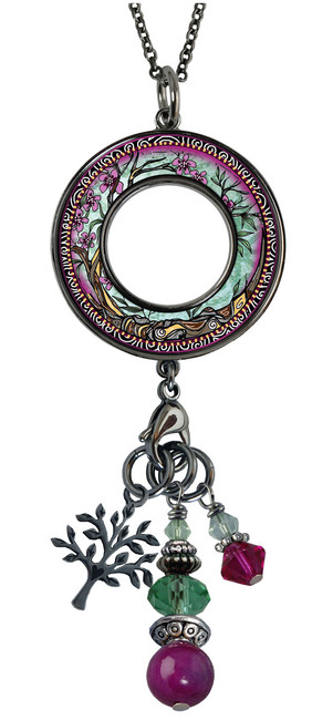Tree of Life Fusia Reversible Beaded Open Circle Charm Pendant