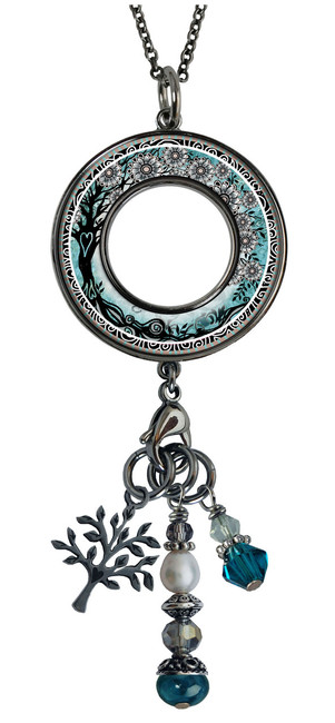 Tree of Life Teal Reversible Beaded Open Circle Charm Pendant