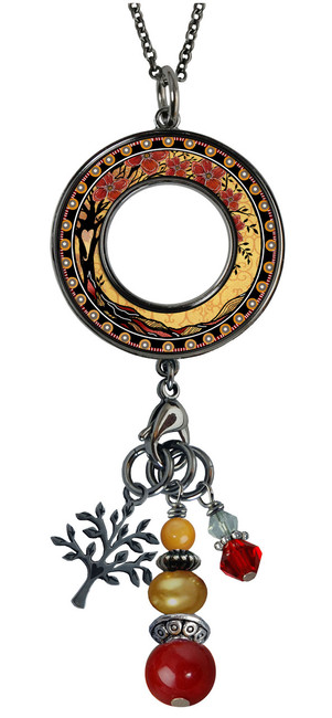 Tree of Life Yellow Reversible Beaded Open Circle Charm Pendant