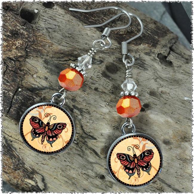 Orange Butterfly Crystal Circular Earrings