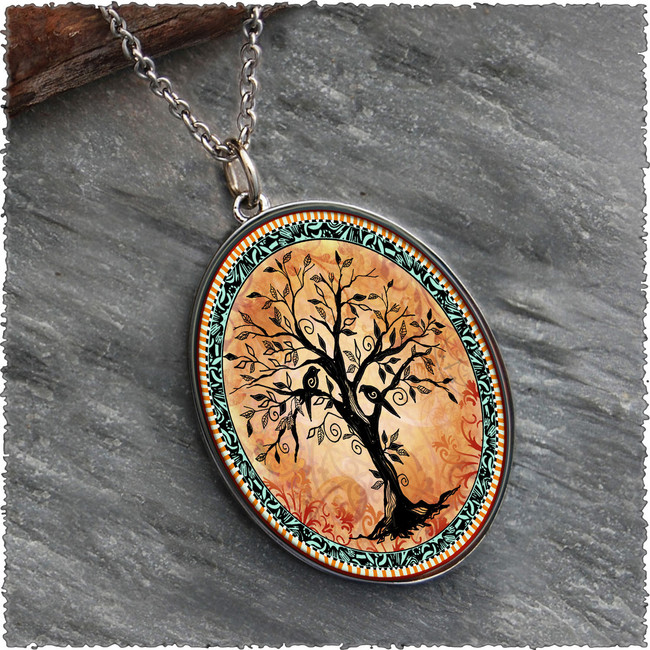 Tree of Life Orange Reversible Silver Oval Pendant