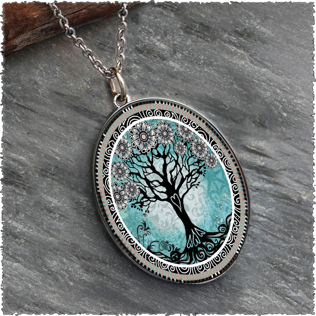 Tree of Life Teal Reversible Silver Oval Pendant