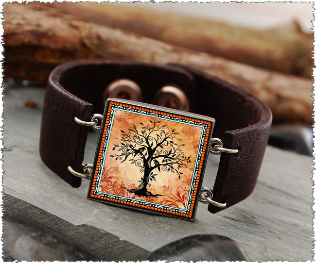 Tree of Life Orange Double Sided Leather Cuff Bracelet