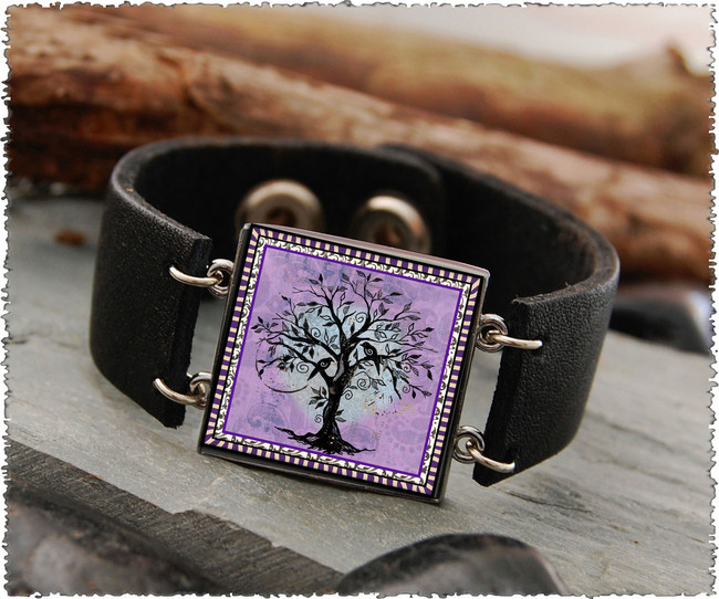 Tree of Life Purple Double Sided Leather Cuff Bracelet