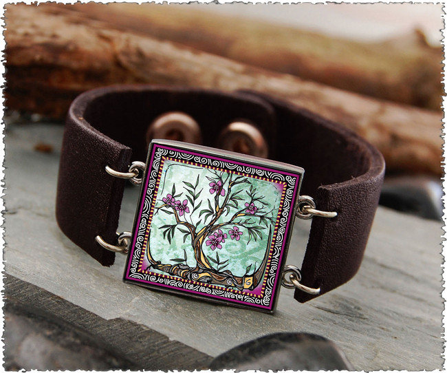 Tree of Life Fusia Double Sided Leather Cuff Bracelet