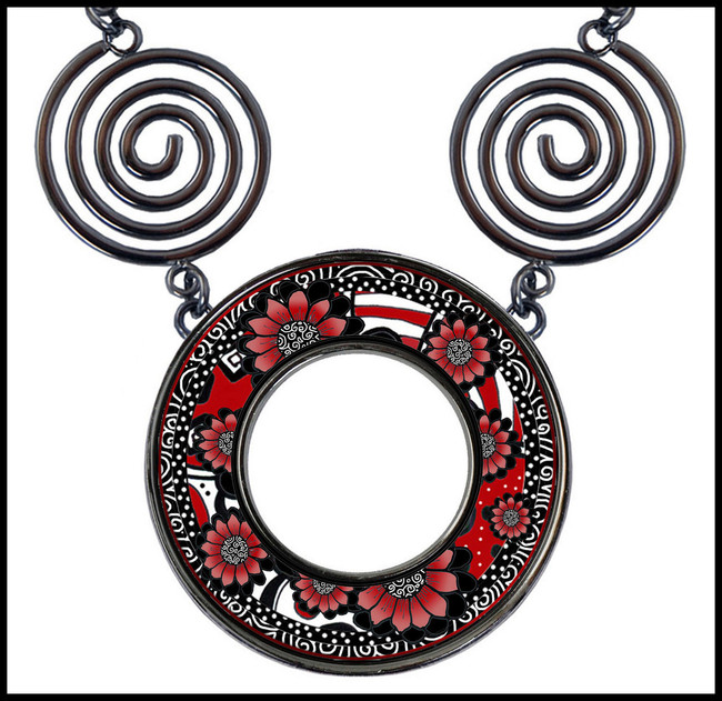Black White Red Flower Circle Spiral Necklace