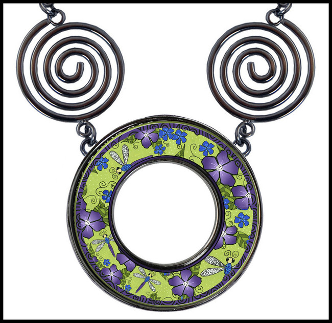 Dragonfly Flowers Circle Spiral Necklace