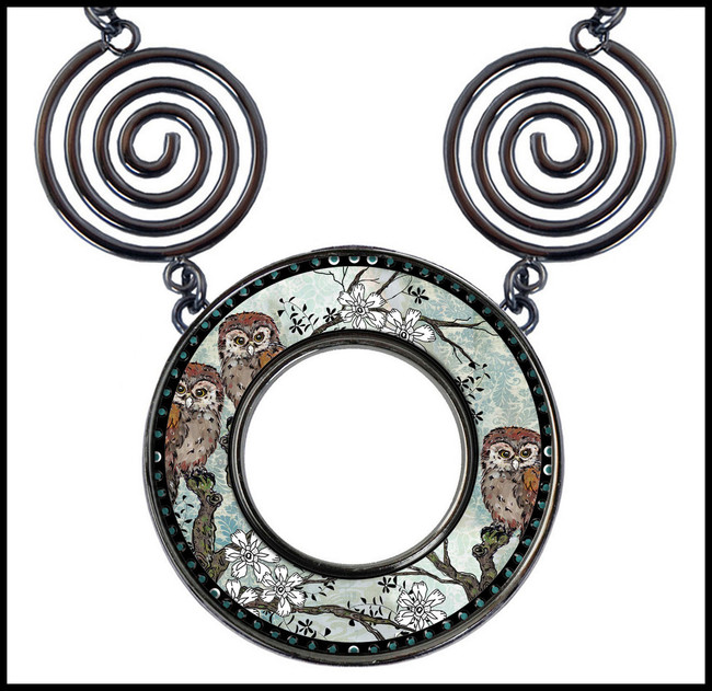 Owl Blue Circle Spiral Necklace