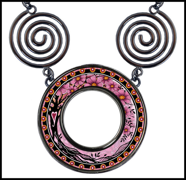Tree of Life Pink Circle Spiral Necklace