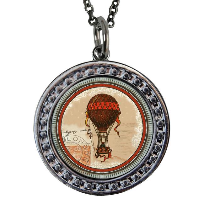 "Hot Air Balloon Circular Reversible Vintage ""Leaf"" Pendant"