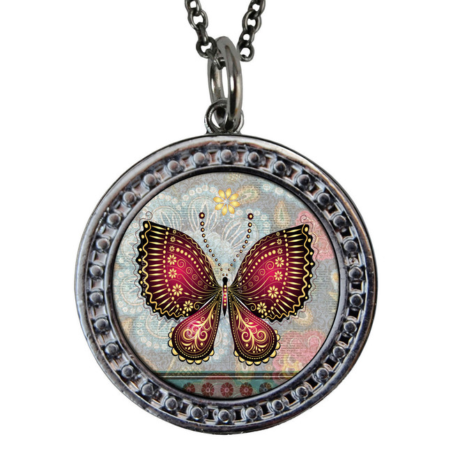 """Red Butterfly Circular Reversible Vintage """"Leaf"""" Pendant"""