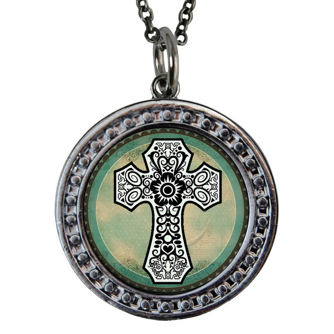 "Cross Green Circular Reversible Vintage ""Leaf"" Pendant"