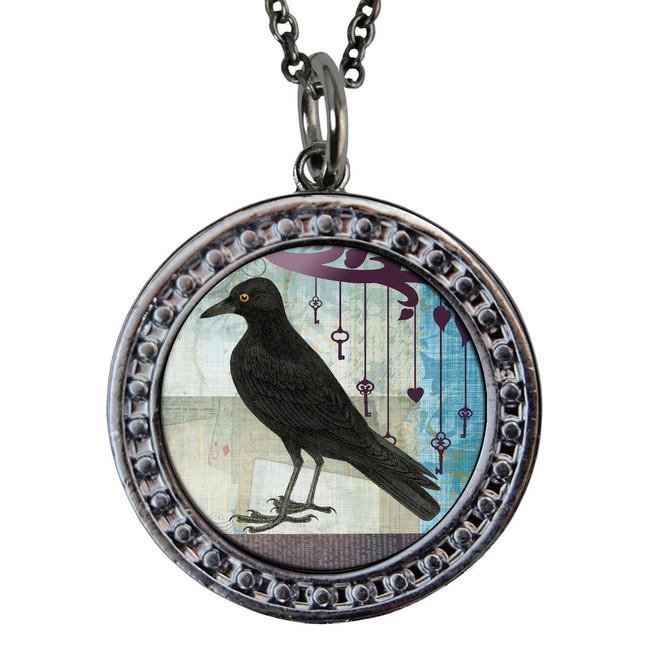 "Crow Circular Reversible Vintage ""Leaf"" Pendant"
