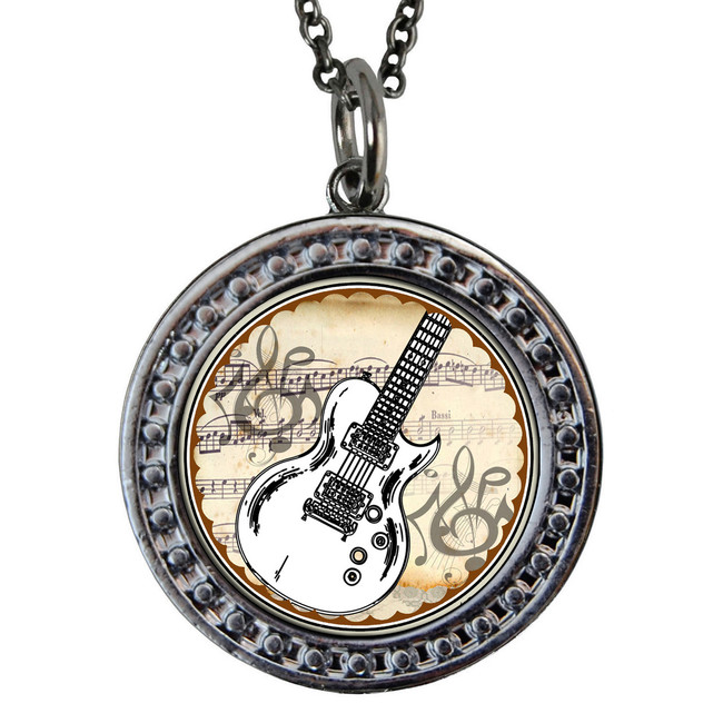 "Guitar Circular Reversible Vintage ""Leaf"" Pendant"