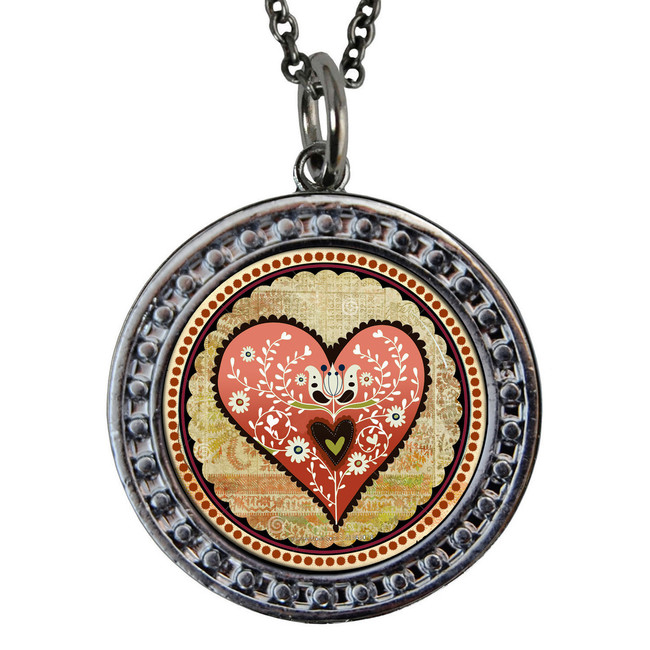 "Heart Circular Reversible Vintage ""Leaf"" Pendant"