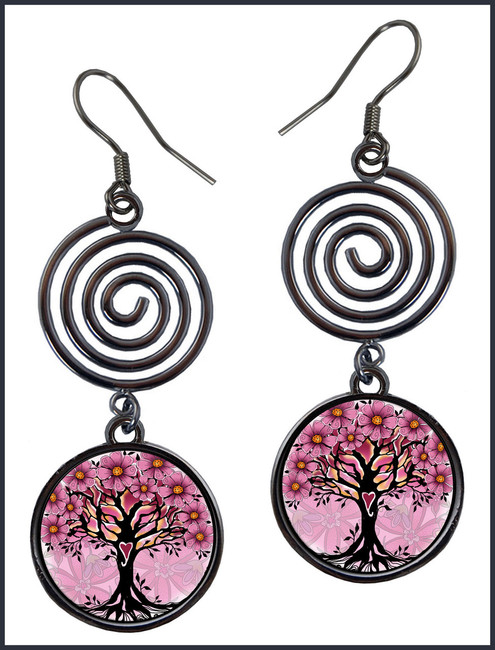 Tree of Life Pink Circle Spiral Earrings