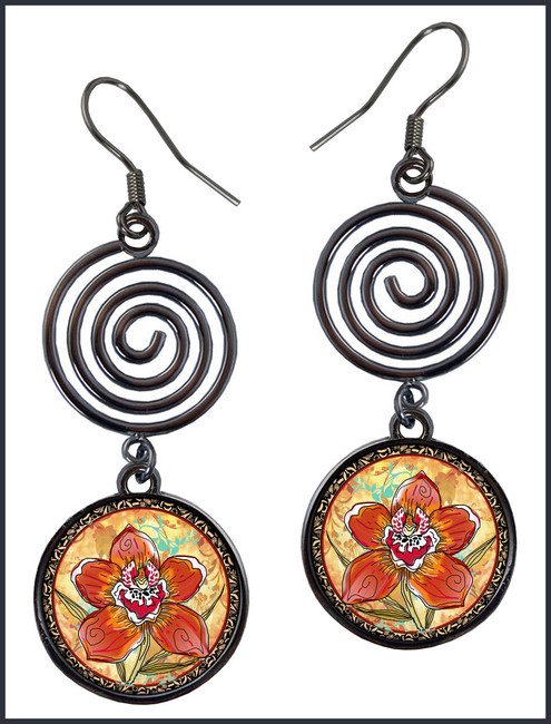 Orchid Circle Spiral Earrings
