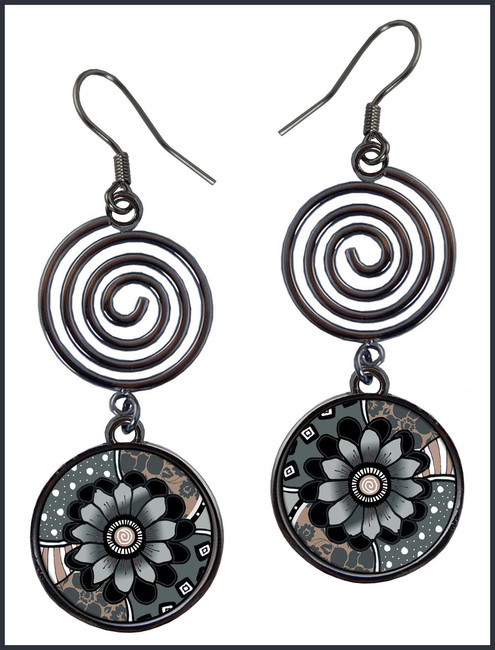 Gray Black Flower Circle Spiral Earrings