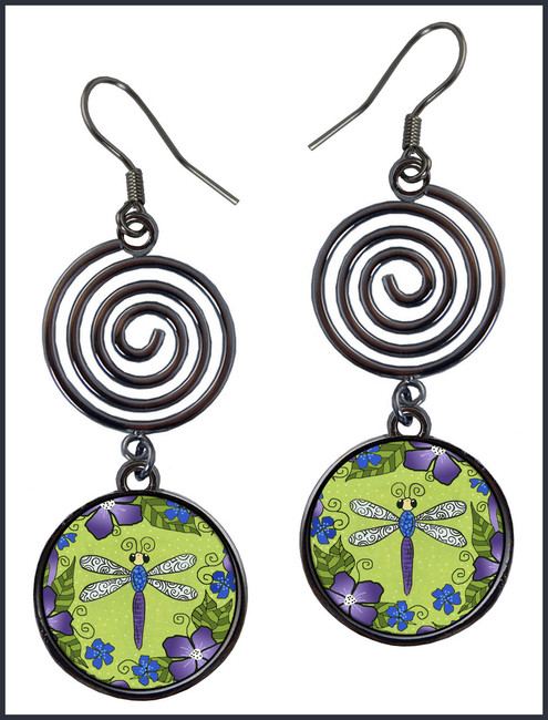 Dragonfly Flowers Circle Spiral Earrings