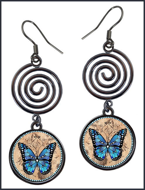 Monarch Blue Circle Spiral Earrings