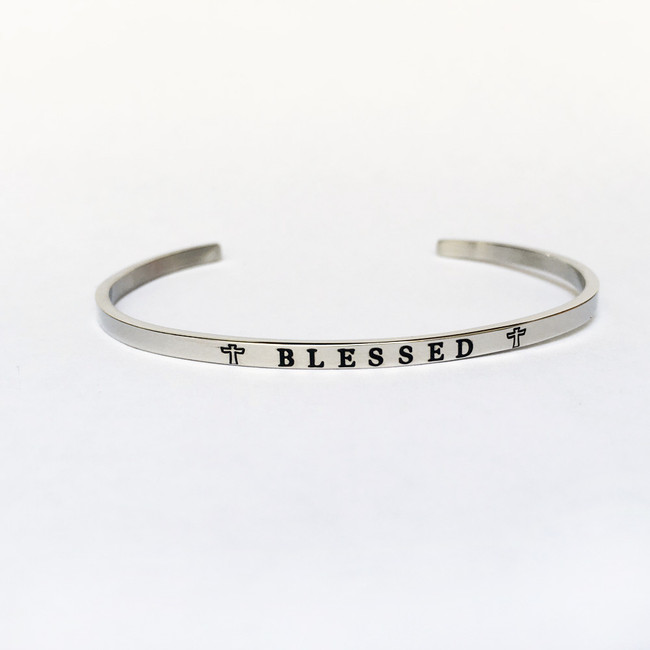 """BLESSED"" Stainless Steel Cuff Bracelet"