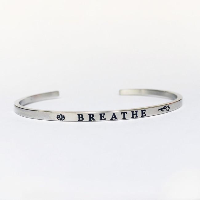 """""""BREATHE"""" Stainless Steel Cuff Bracelet"""