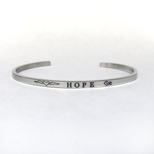 """HOPE"" Stainless Steel Cuff Bracelet"