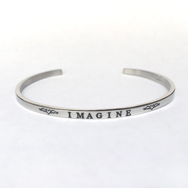 """IMAGINE"" Stainless Steel Cuff Bracelet"