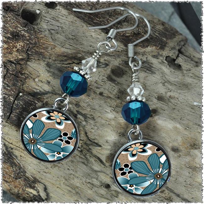 Teal Flower Crystal Circular Earrings