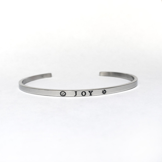 """JOY"" Stainless Steel Cuff Bracelet"