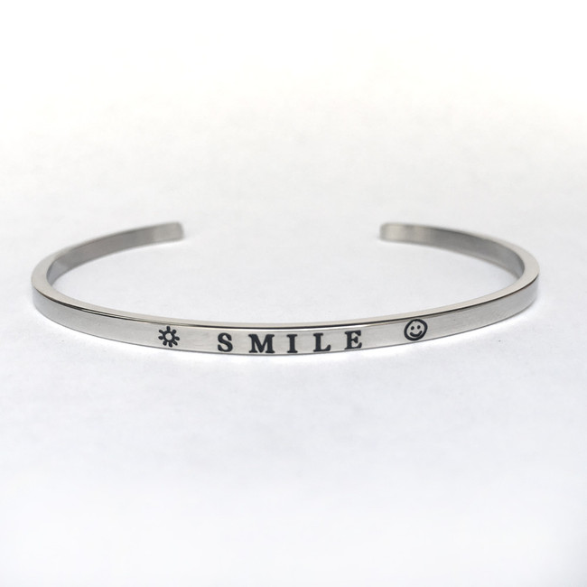 """SMILE"" Stainless Steel Cuff Bracelet"