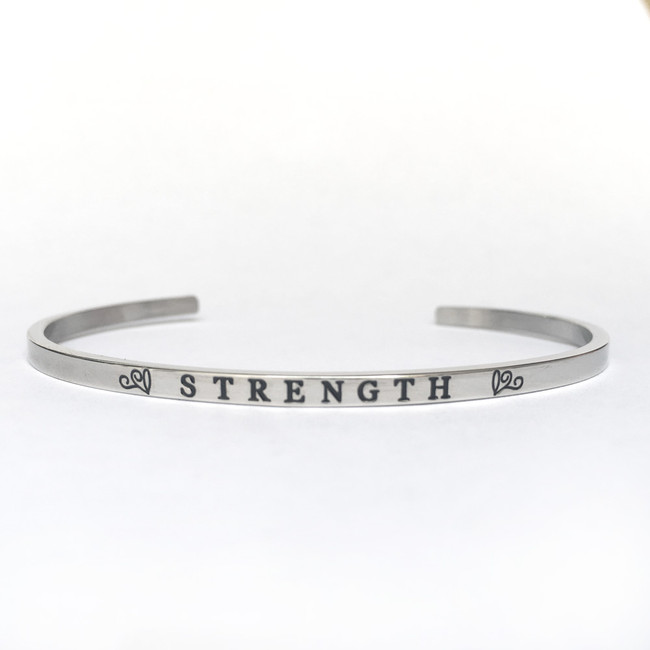 """STRENGTH"" Stainless Steel Cuff Bracelet"