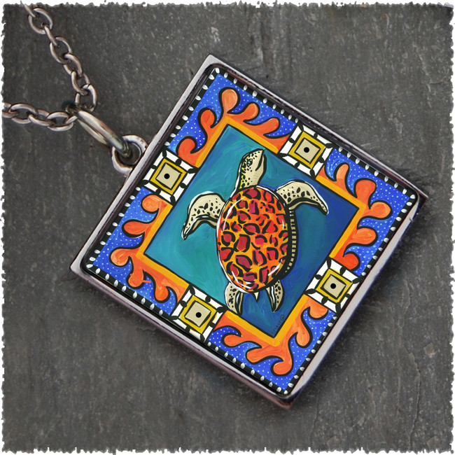 Blue Sea Turtle Square Reversible Pendant
