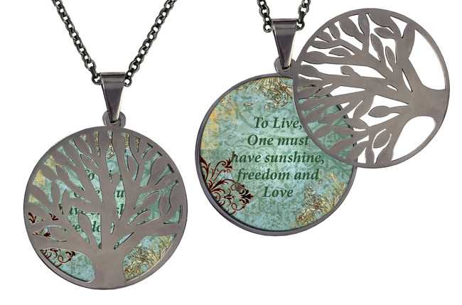 "Poetry Tree - Teal/Brown -To Live, One Must Have Sunshine And Freedom. Stainless Steel Tree of Life on Stainless Steel Chain. Nice Quality Substantial Weight. 28"" Regular Stainless Steel Chain W- 1 1/8, H- 1 1/8, D- 1/8"" (thick)"