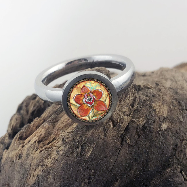 Orchid Stainless Art Ring