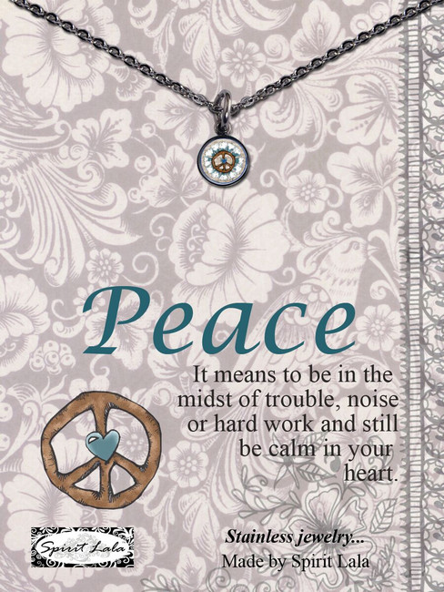 Carded Peace Sign Small Circle Necklace