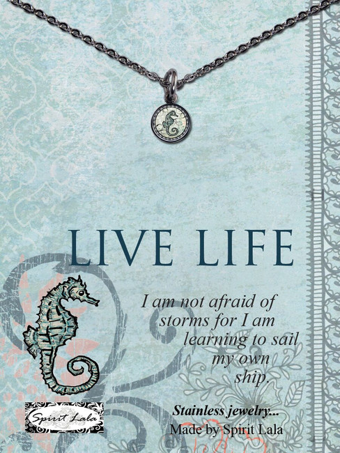 Carded Seahorse Small Circle Necklace
