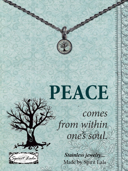 Carded Peace Tree Small Circle Necklace